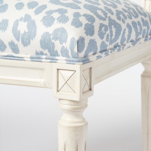 Schumacher Marie Therese Iconic Leopard Blue Hand-Carved Beechwood Side Chair For Sale - Image 10 of 11