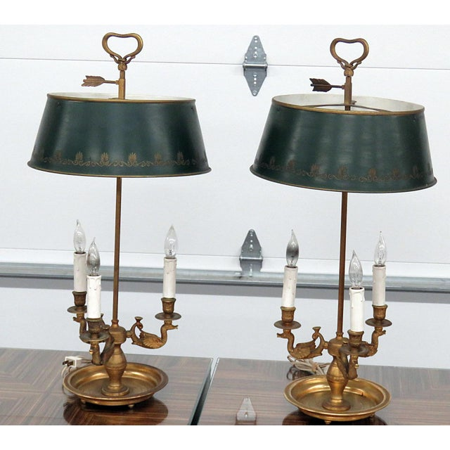Empire Style 3 Arm Bouillotte Lamps - a Pair For Sale In Philadelphia - Image 6 of 6