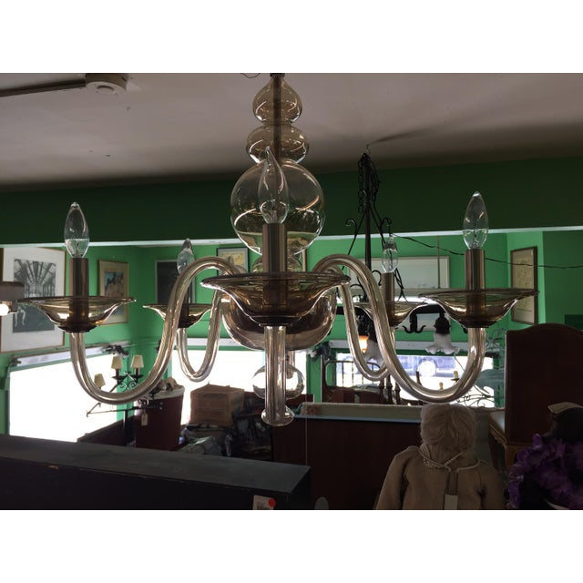 Italian Smoked Glass Chandelier 6 Light For Sale In San Francisco - Image 6 of 7