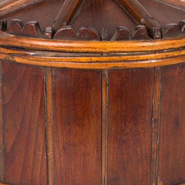 Wood spice bucket from mid-19th century Sweden.