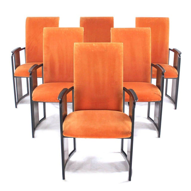 Set of Six Mid-Century Modern Metal and Rosewood Frame Dining Chairs For Sale - Image 10 of 10