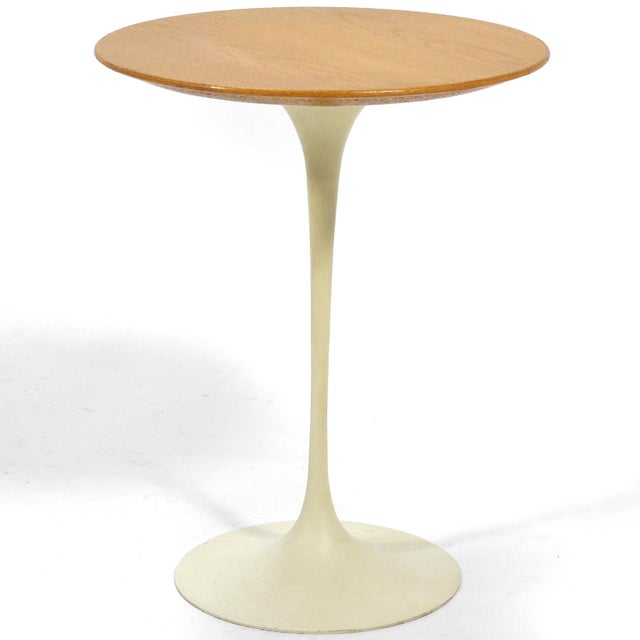 Eero Saarinen Tulip Side Table With Oak Top by Knoll For Sale - Image 10 of 10