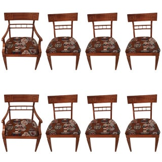 Set 8 Greek Key Dining Chairs, 2 Arm and 6 Armless, Attributed to James Mont For Sale