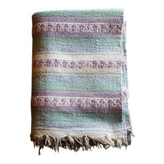 Pastel Mexican Serape Vintage Blanket