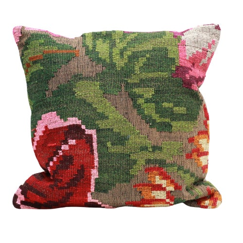 2010s Rose Kilim Throw Pillow - 18×18 For Sale - Image 5 of 5