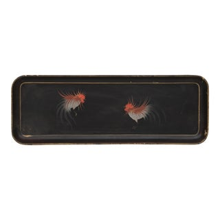 Vintage Japanese Hand Painted Rooster Tray For Sale