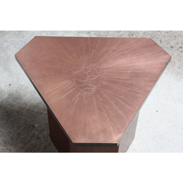 Pair of Italian Etched Copper and Brass Side Tables by G. Urso - Image 11 of 11