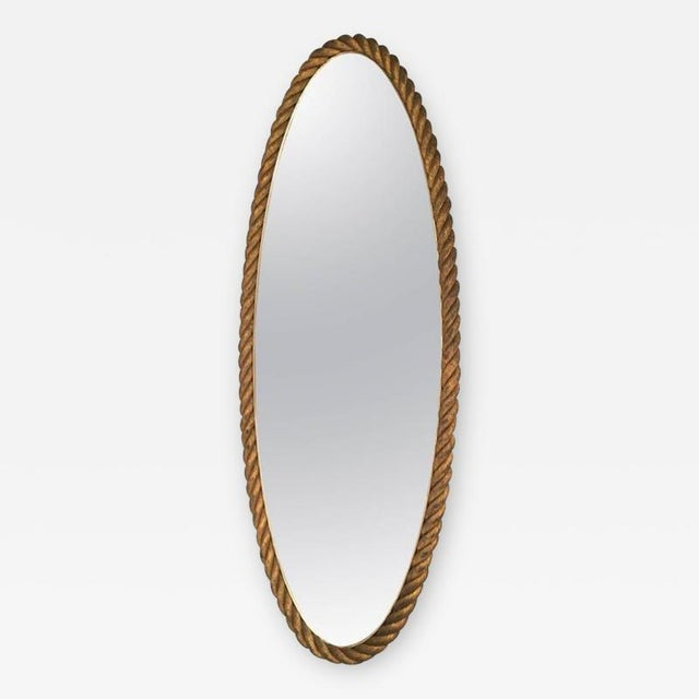 FRENCH RIVIERA GILT ROPE MIRROR Very high gilt rope pure mirror in good vintage condition.