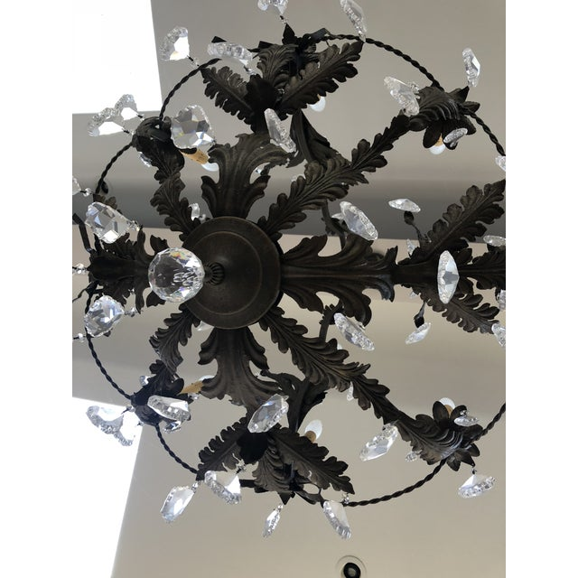 Rustic Black Iron and Crystal 12 Arm Chandelier For Sale - Image 4 of 6