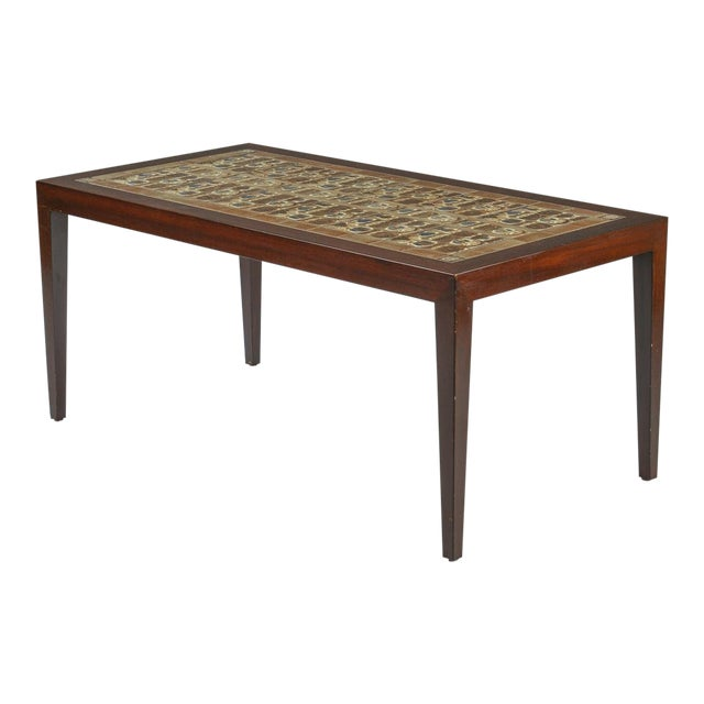 Danish Modern Rosewood And Ceramic Tile Coffee Table 1960s For