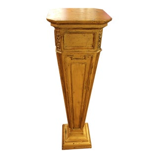 Vintage 1950s Neoclassical Gilt Wood Pedestal For Sale