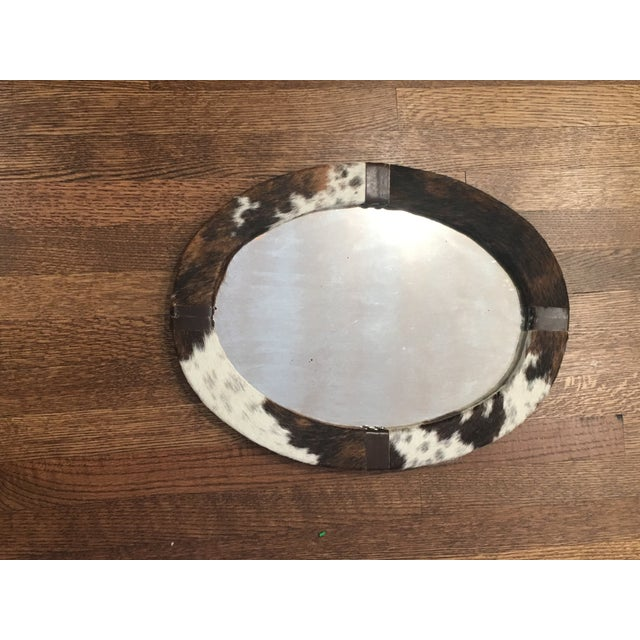 Campaign Brown & White Animal Cow Hide & Leather Oval Wall Mirror For Sale - Image 3 of 7