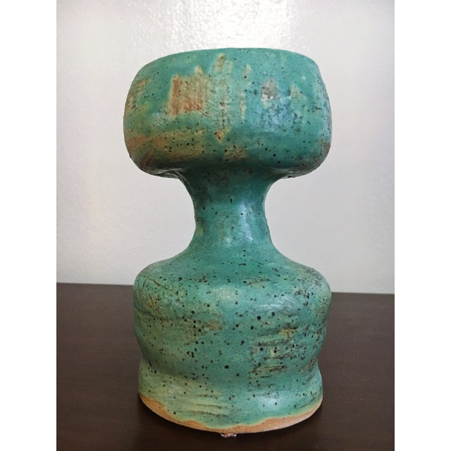 Handmade Aqua Green Ceramic Vase - Image 2 of 5
