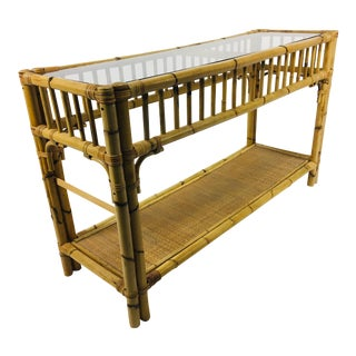 Asian Style Bamboo and Rattan Console For Sale