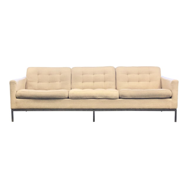 Mid-Century Modern Florence Knoll Cream Colored Wool and Chrome Three Seat Sofa For Sale