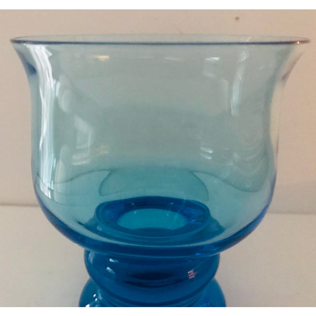 2000 - 2009 Vintage Hand Blown Rocks Glasses Aqua Blue Turquoise - Set of 4, (10 Available) For Sale - Image 5 of 11