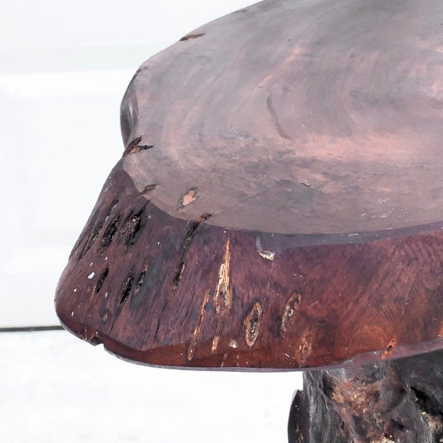 Wood Vintage Tree Slab Side Table or Pedestal For Sale - Image 7 of 13