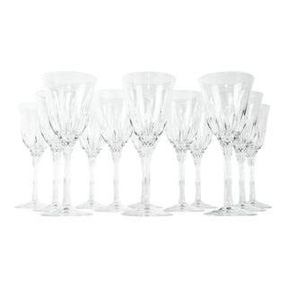 Vintage Set 12 Cut Crystal Wine Glasses