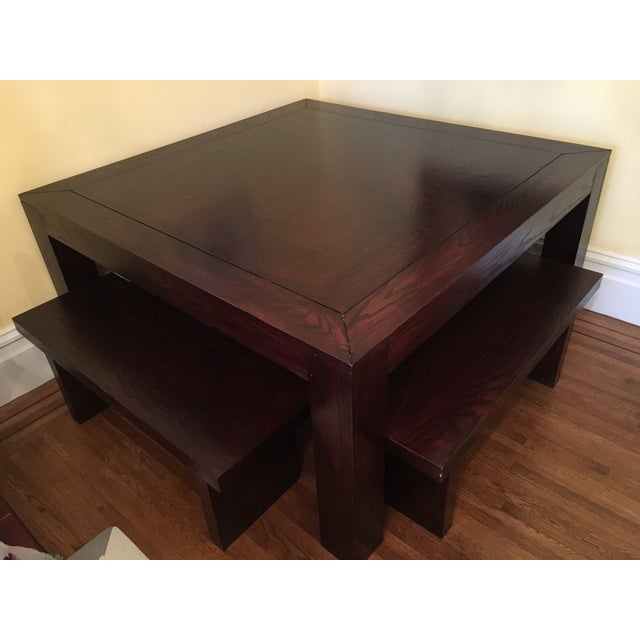 Hand Crafted Oak Table & Benches - Image 4 of 5
