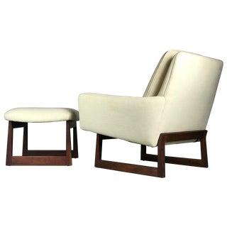 1960's Vintage Jens Risom Lounge Chair & Ottoman For Sale