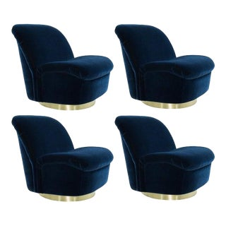 Navy Blue Mohair and Brass Seating Suite by Directional, 1960s - Set of 4 For Sale