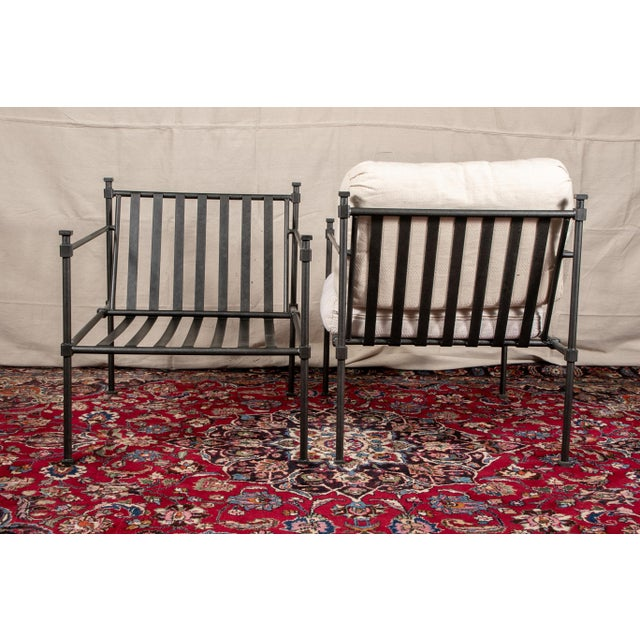 Fabric Pair of Welded Construction Modern Armchairs For Sale - Image 7 of 8