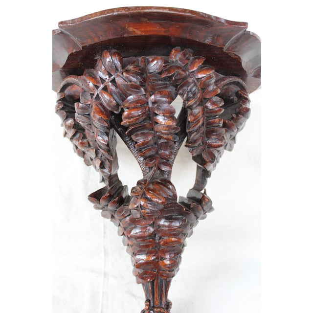 Traditional Hand Carved Vine Motif Wall Shelf For Sale - Image 3 of 8