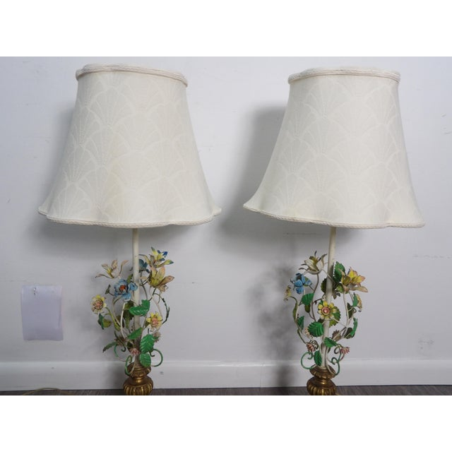 Late 20th Century Late 20th Century Vintage Italian Tole Metal Lamps- a Pair For Sale - Image 5 of 9