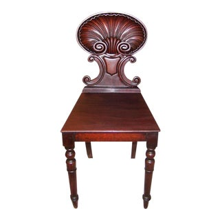 18c Irish Mahogany Hall Chair With Scallop Back For Sale