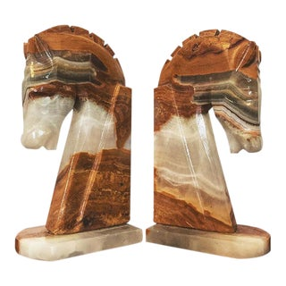 Vintage Onyx Horse Bookends - a Pair