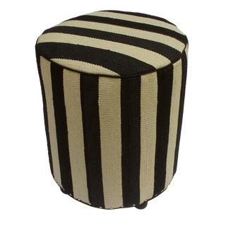 Arshs Dawna Ivory/Black Kilim Upholstered Handmade Ottoman