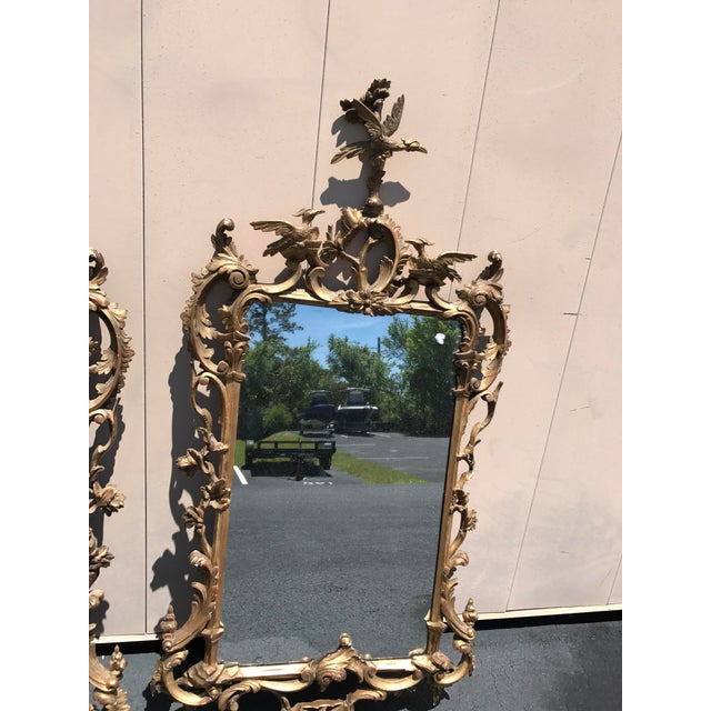 Chippendale 19th Century Antique English Gilt Wood Rococo Chippendale Mirrors - a Pair For Sale - Image 3 of 12