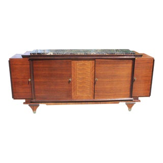 Classic French Art Deco Exotic Macassar Ebony Sideboard / Buffet Marble Top Circa 1940s.