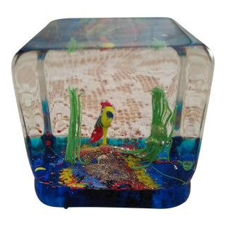 Vintage Murano Square Shaped Acquarium Theme Paper Weight For Sale