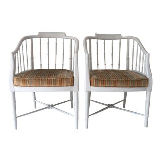 1970s Hollywood Regency Faux Bamboo Arm Chairs - a Pair