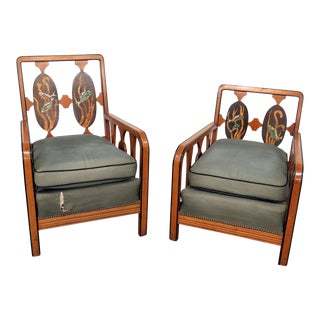 Companion Art Deco Arm Chairs - a Pair For Sale