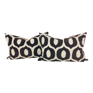 Contemporary Embossed Black and White Patterned Velvet Lumbar Pillows – a Pair For Sale