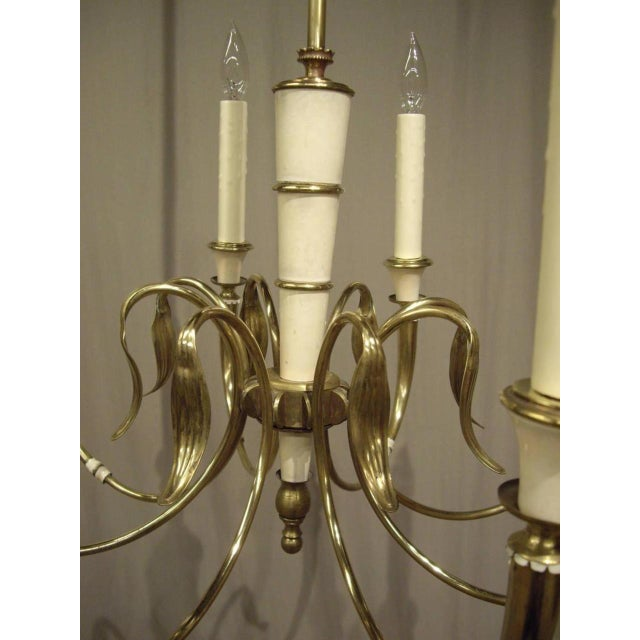 Metal Vintage French Brass 8-Light Chandelier For Sale - Image 7 of 8