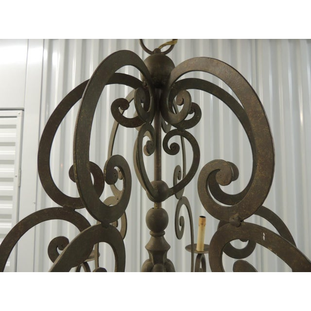 Currey & Company Large Traditional Forged Iron Hanging Chandelier From Curry & Co For Sale - Image 4 of 12
