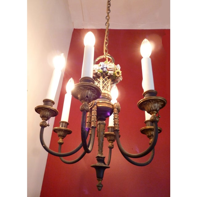 Antique 1930s French Bronze Chandelier For Sale - Image 4 of 4