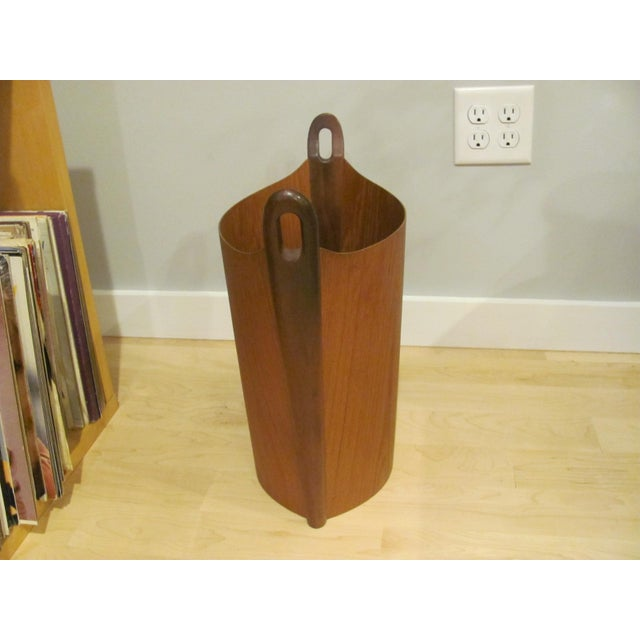 This is one of two P. S. Heggen Teak bentwood Wastebaskets / Trashcans we have listed. Made in Norway. Designed by Einar...
