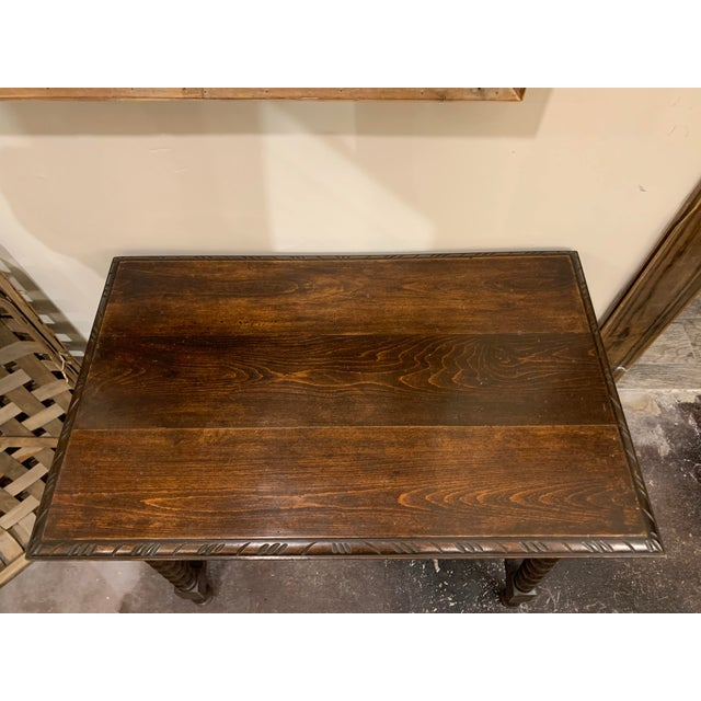 Spanish Baroque Style Carved Oak Side Table For Sale In Denver - Image 6 of 13