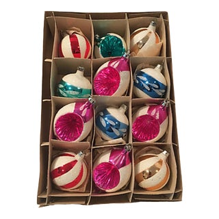 Colorful Blown Glass Ornaments S/12 For Sale