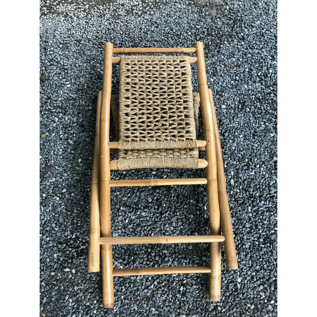 Mid-Century Modern Hans Wagner Style Bamboo Rope Folding Lounge Chairs - a Pair For Sale - Image 12 of 13