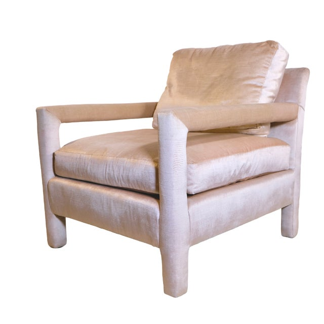 Pair of Milo Baughman Style Parsons Chairs in Blush Velvet For Sale In Chicago - Image 6 of 9
