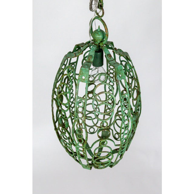 1920's Art Deco Green Oblong Cage Lantern With Circle Motif For Sale In San Francisco - Image 6 of 11