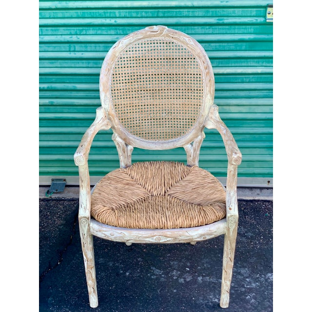 White 1960's Vintage Louis XVI Faux Bois Branch Form Cane Back Rush Seat Dining Chairs -Set of 6 For Sale - Image 8 of 13