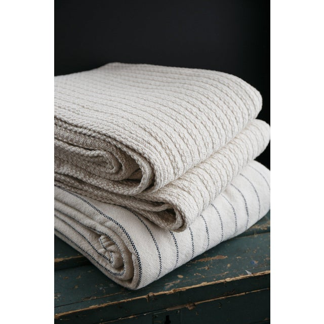 Cream Cableknit Blanket in Natural, Full/Queen For Sale - Image 8 of 10