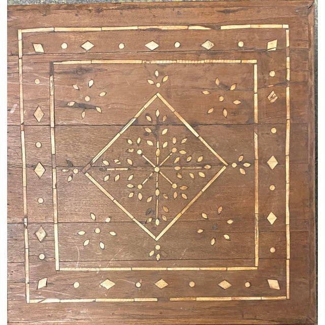Vintage Indian Bone Inlay Tea Table For Sale - Image 4 of 5