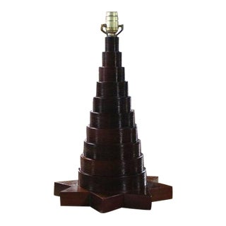 Carved Wood Pyramid with Eight-Point Star Base Table Lamp For Sale